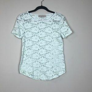ANN TAYLOR LOFT lace knit blouse top small mint